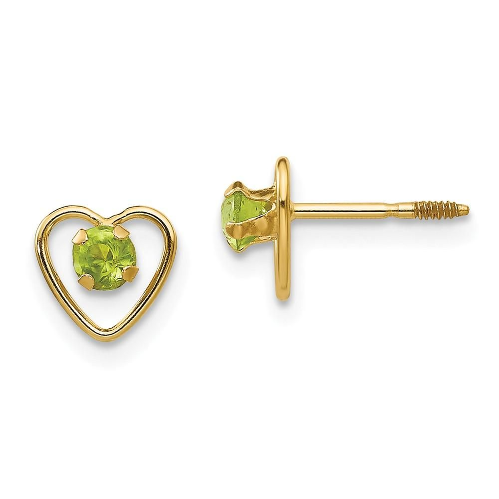 14k Yellow Gold Madi K Natural Peridot With Leaf Post Earrings