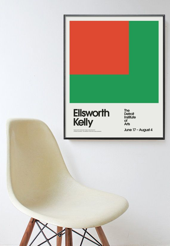 Ellsworth Kelly Detroit Institution Of Arts Poster Print Mid Century Modern  Eames Abstract Herman Miller Bauhaus