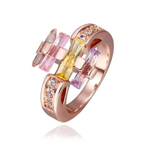 Rose Plated Multi-Colored Linear Ring Size, Women's