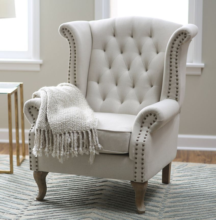 Wingback arm chair queen ann furniture accent chairs linen for Upholstered living room chairs sale