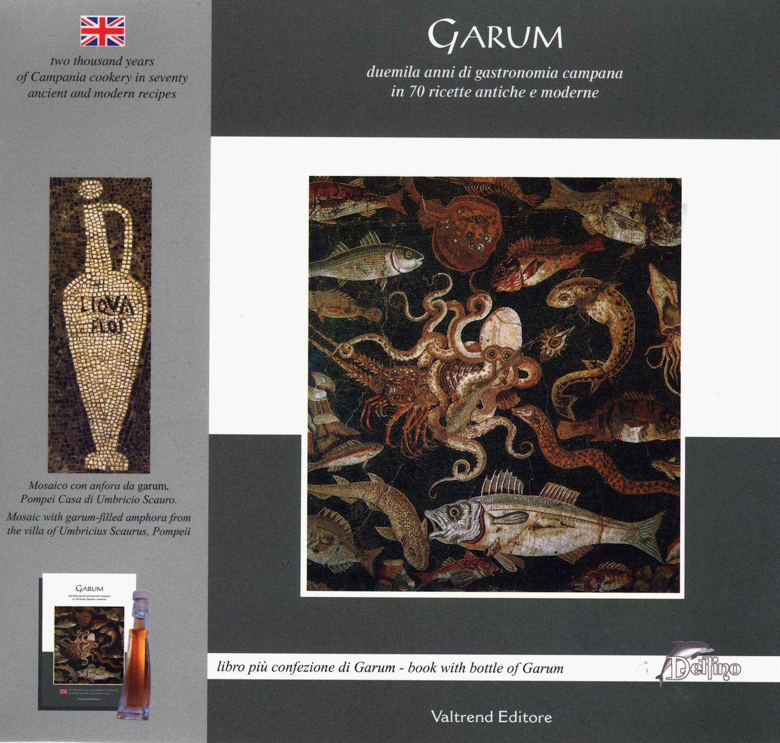 label of the book and bottle of Garum I bought in Bacoli near Naples. Sept 2013