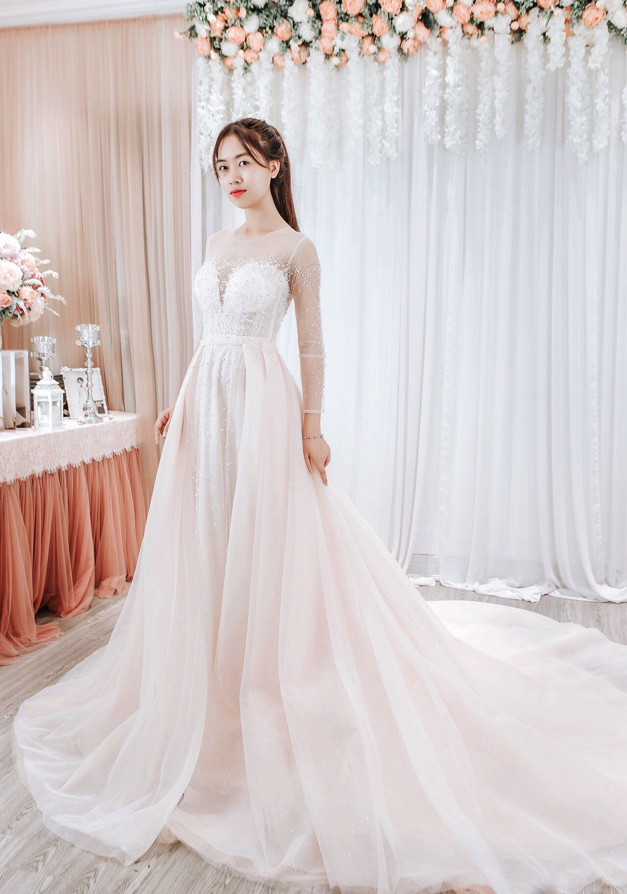 Aline Wedding Dress/ Long Sleeves/ Bridal Gown/ Vintage