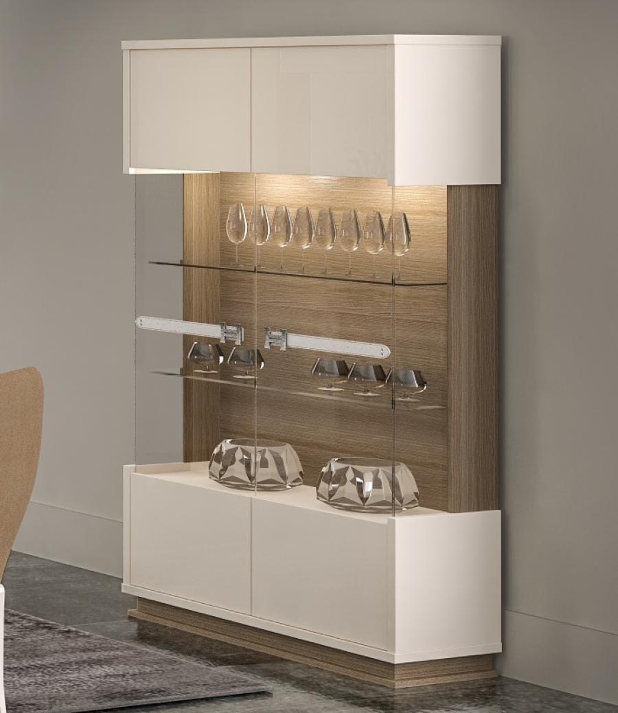 Evolution, Modern 2 Door Display Cabinet In Ivory/Walnut Effect Finish,  Lights