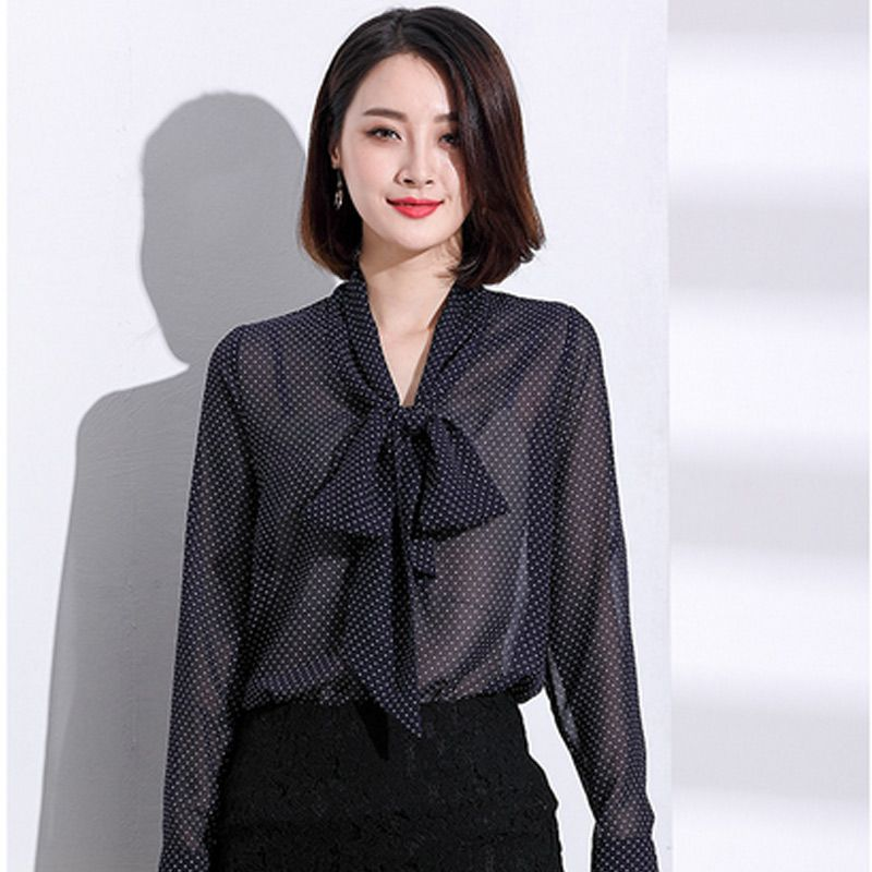 2017 Women Bow Chiffon Shirt Blouse Long Sleeve Tops Polka Dot Shirts Ol Office Wear Fs99 In Blouses From S Clothing Accessories On
