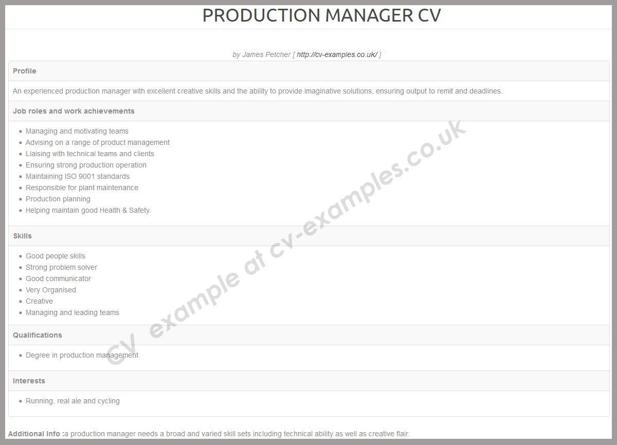 Cvexamplescouk cv example list for manufacturing jobs