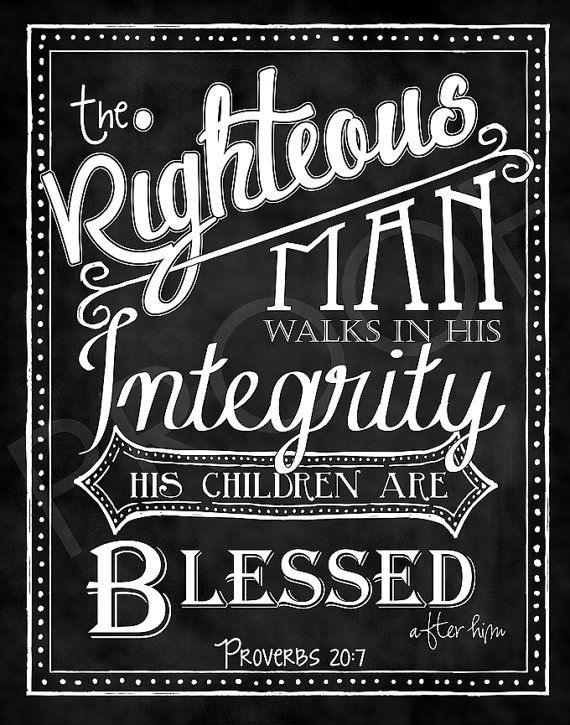 Scripture Art Proverbs 20 7 Chalkboard Style Fathers Day