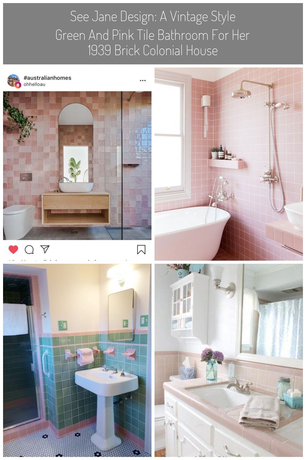 Badezimmer Rosa Fliesen In 2020 Pink Bathroom Tiles Australian Homes Green Tile Bathroom