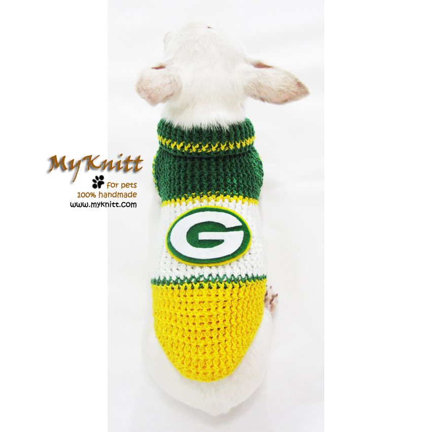 reputable site 8db7e 61dbf Green Bay Packers Dog Jerseys Handmade Crocheted NFL Pet ...