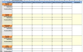 Screenshot Of Ms Excel Weekly Lesson Plan Template Weekly Lesson