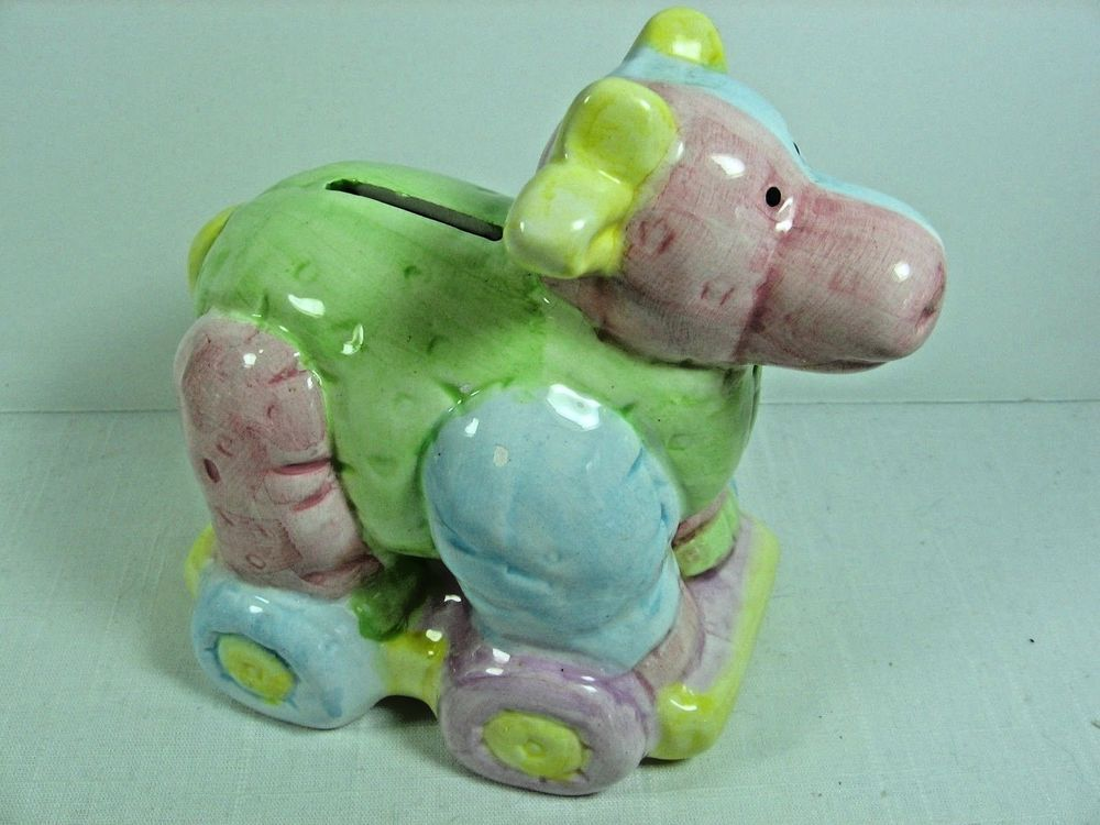 """Collectible Ceramic Pastel Colored Cow Coin Bank - 5 1/2"""" Tall"""