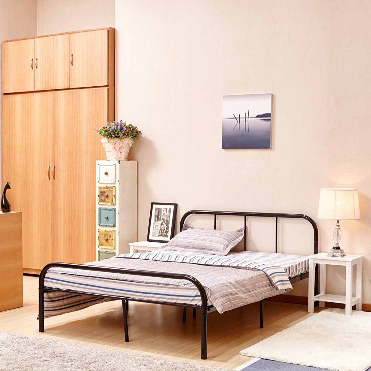 Bed Frame With Headboard And Stable Metal Slats Black Black Bed Frame Bed Frame Metal Bed Frame