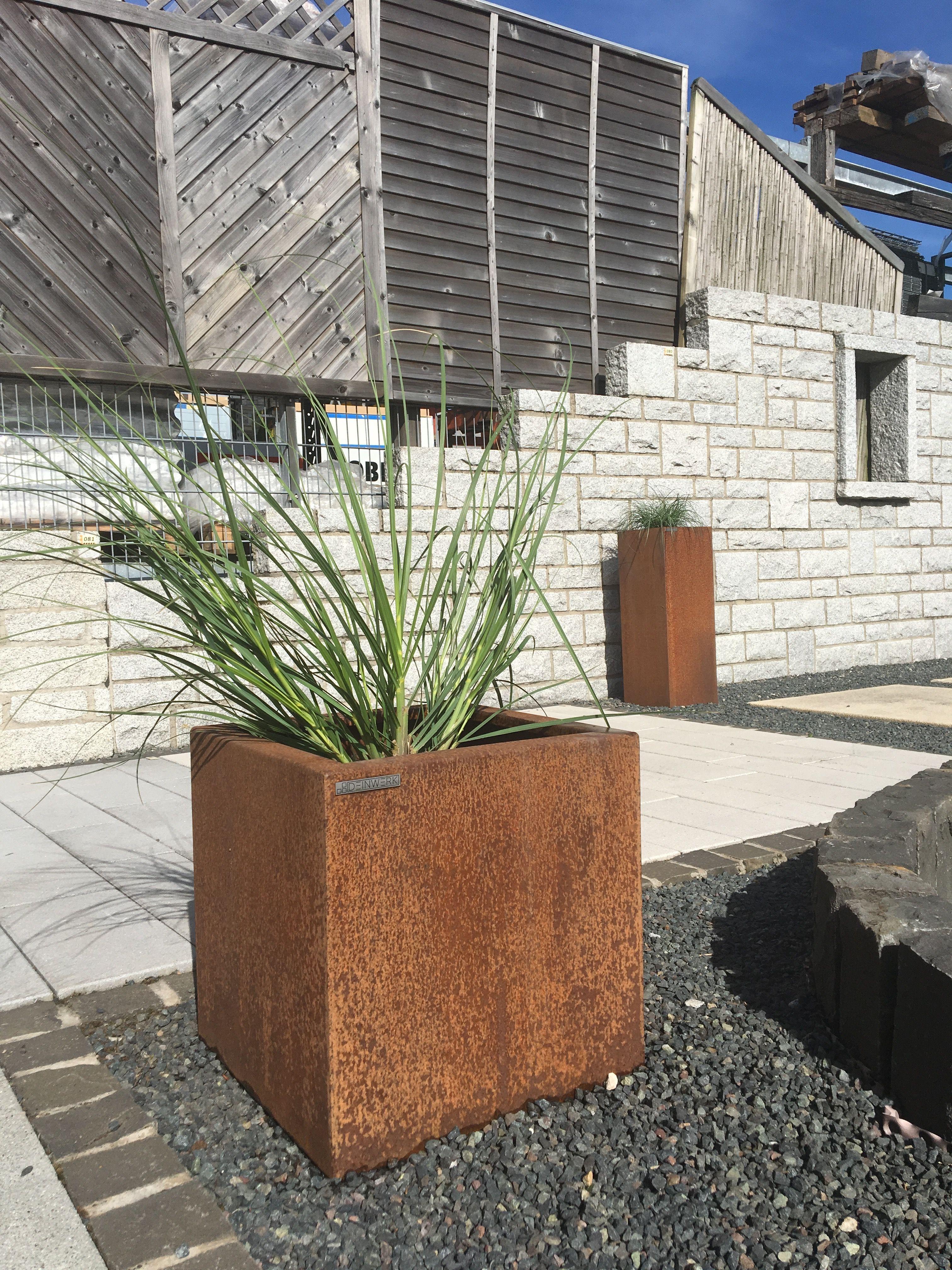 cortenstahl garten terrasse produkte, cortenstahl pflanzkübel cube 40x40 von deinwerk   1. deinwerk, Design ideen