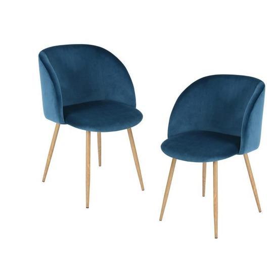 Ynez Lot De 2 Chaises Velours Bleu Style Scandinave L 53 5 X