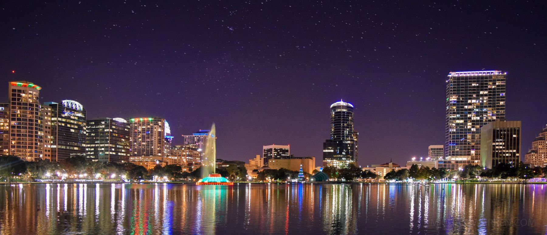 The relatively diminutive Orlando skyline tops only 441 feet with the 30-floor SunTrust Center. Together, the city has only 15 buildings in the city that top 230 feet. But this relatively small skyline is spectacular when viewed from Lake Eola Park. A mile-long walking path surrounds the lake, with views of the skyline, the colorful fountain, and a flock of swans. Photo: Michael Warren / iStock