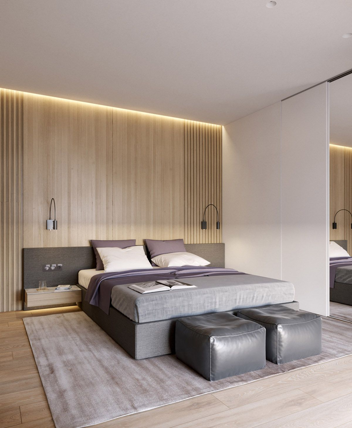 New Home Designs Latest Modern Homes Bedrooms Designs: Pastel Accents Over Expansive Light Wood In Two Modern