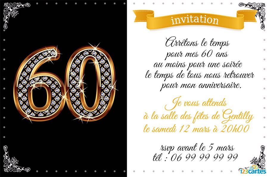 invitation 60ans diamants anniversaire papa pinterest invitations. Black Bedroom Furniture Sets. Home Design Ideas