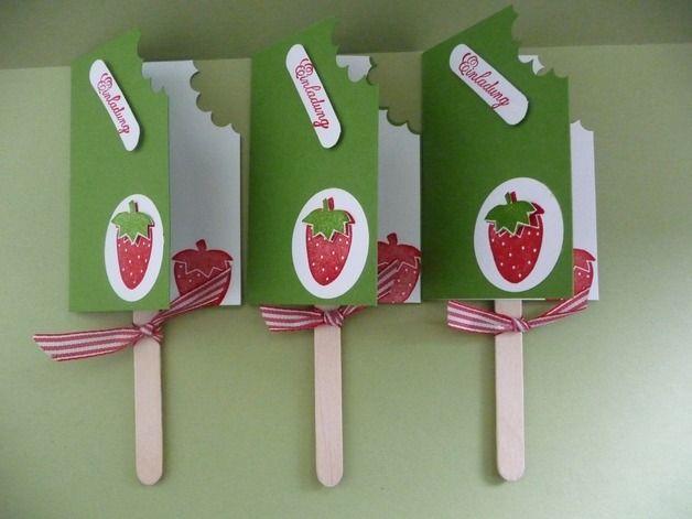 3 EINLADUNGSKARTEN ,Eis Am Stiel ,Erdbeere. Einladung  KindergeburtstagKindergeburtstag ...