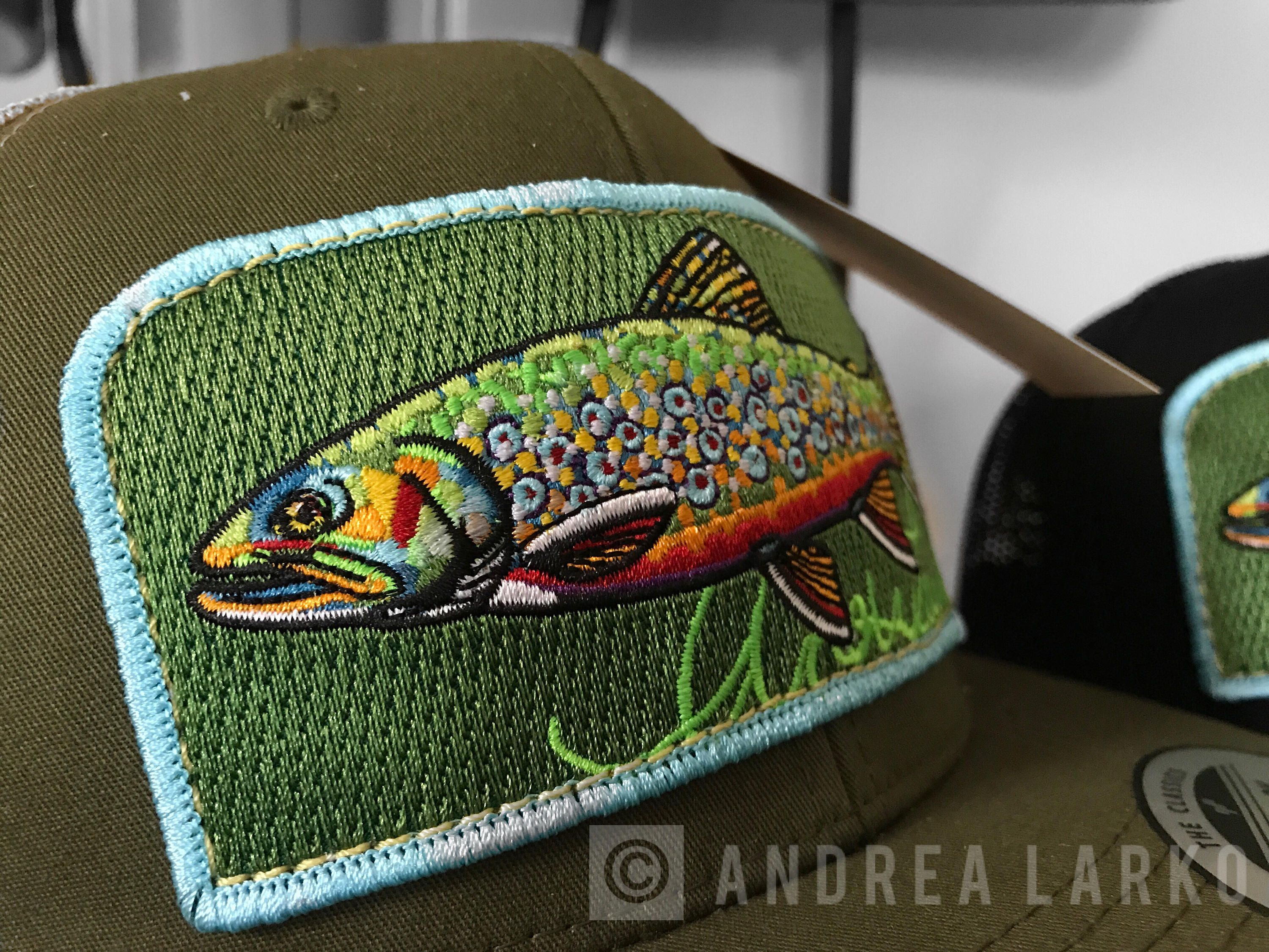 0eb7013fa0d5f Embroidered Brook Trout Patch Trucker Hat by andrealarko on Etsy
