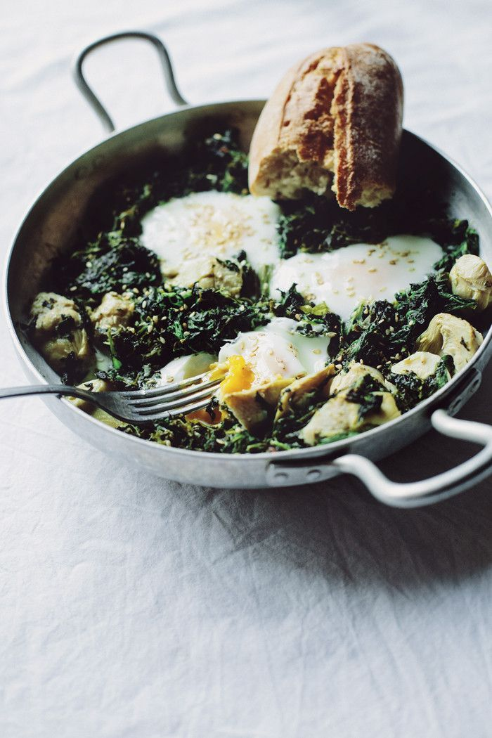Eggs Sardou style breakfast bake with artichokes, spinach and eggs