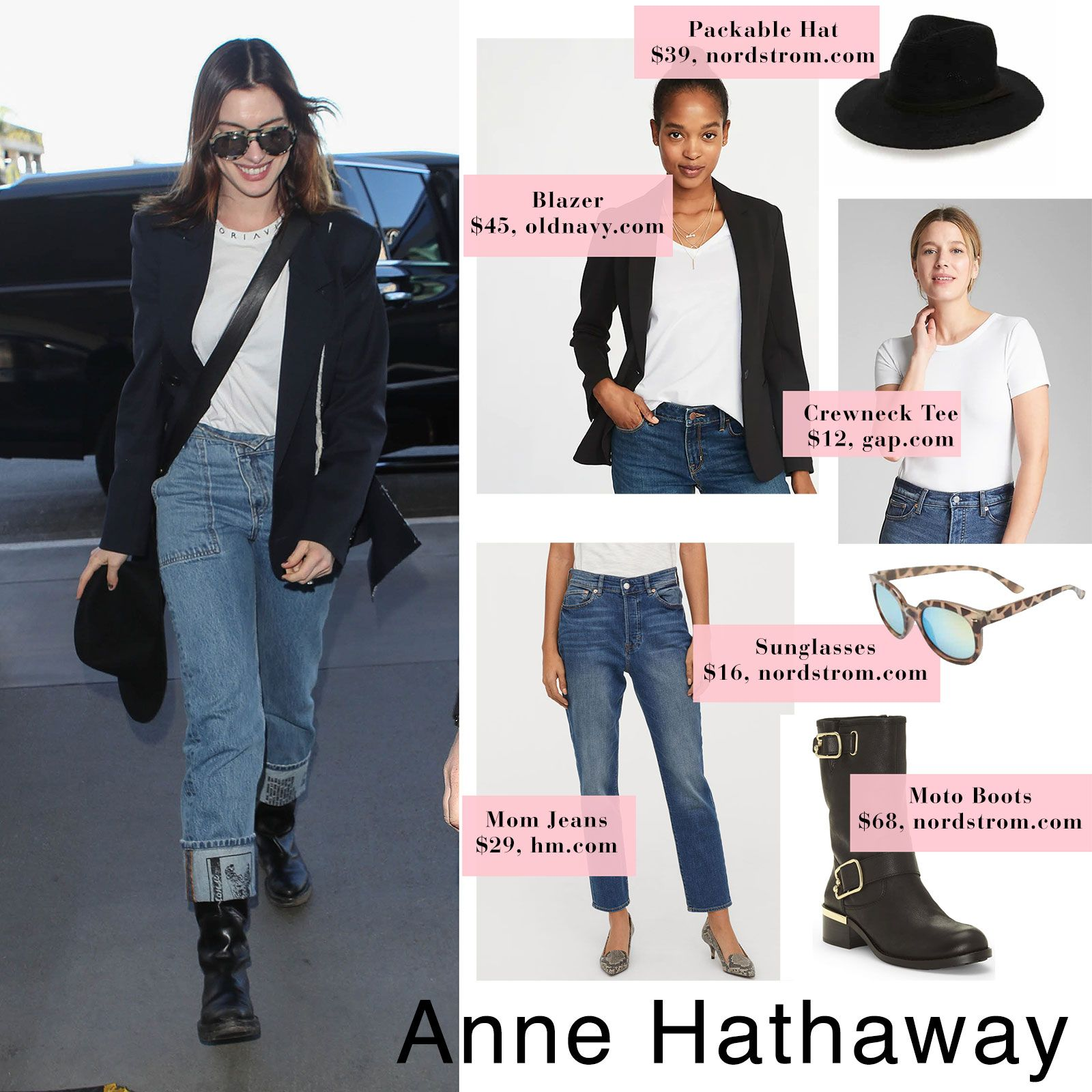 e688467c17184 Anne Hathaway s Black Blazer and Mom Jeans Airport Style - The Budget Babe