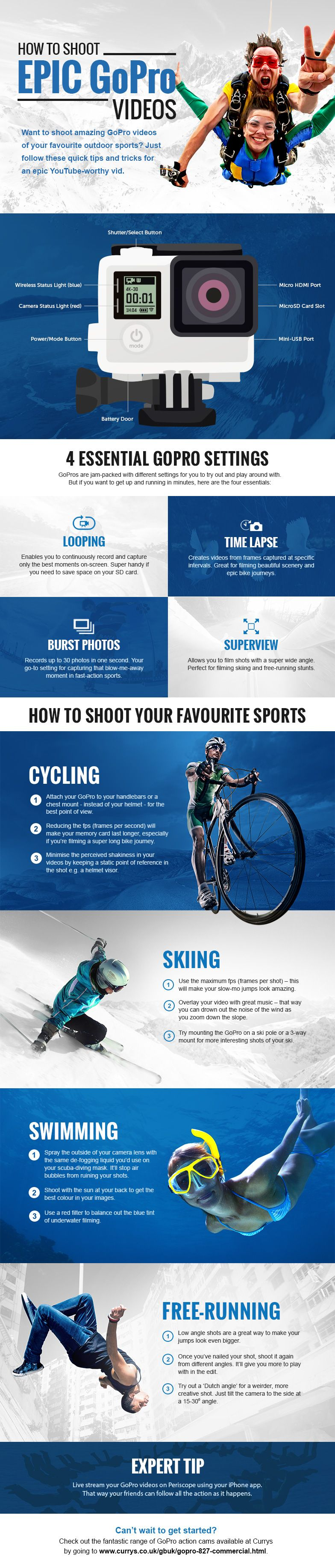 Check out our handy infographic for some expert tips on how to shoot top-quality GoPro videos.