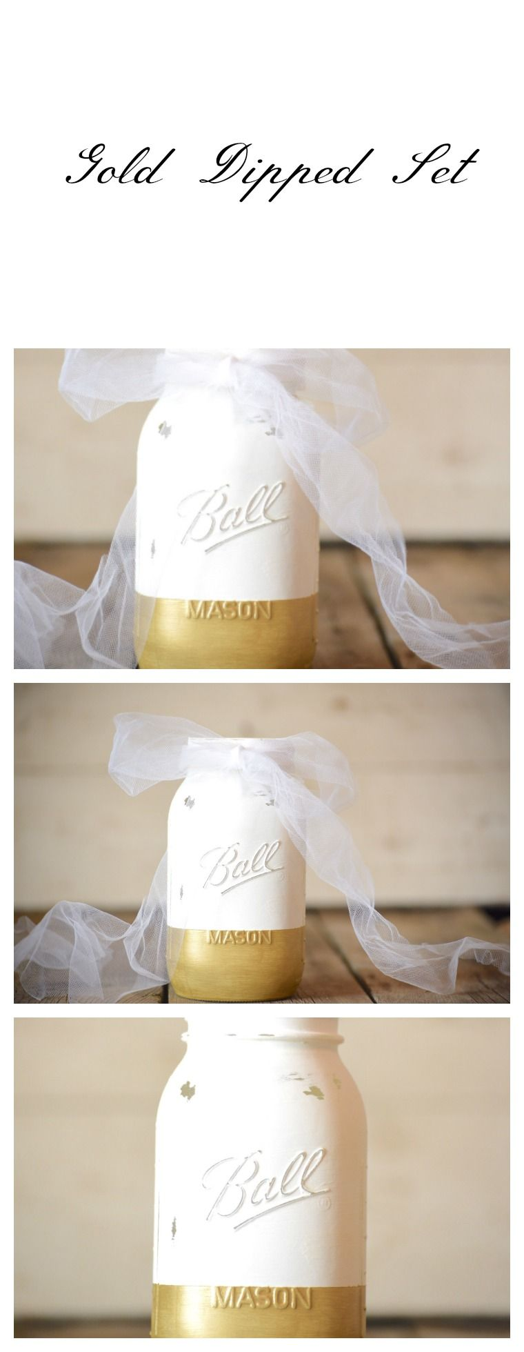 Gold and White Mason Jar Wedding Centerpiece Rustic Decor Farmhouse ...