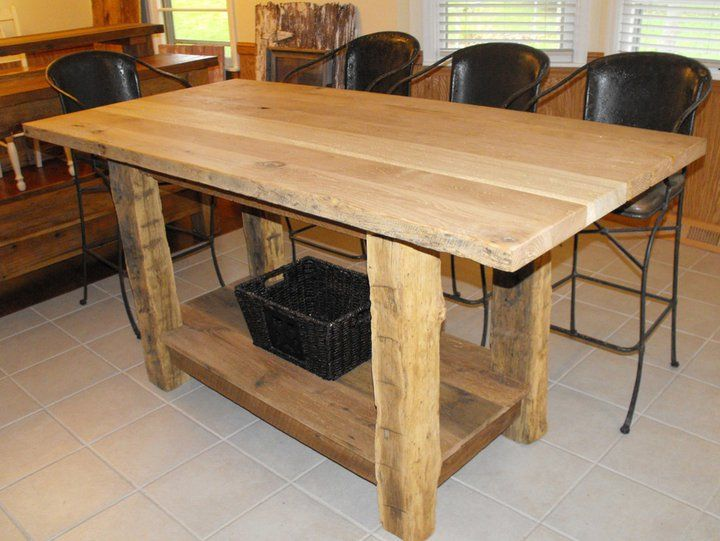 3 X5 Counter Height Kitchen Island With Hand Hewn Legs We Havent Put A Finish Coat On It Yet