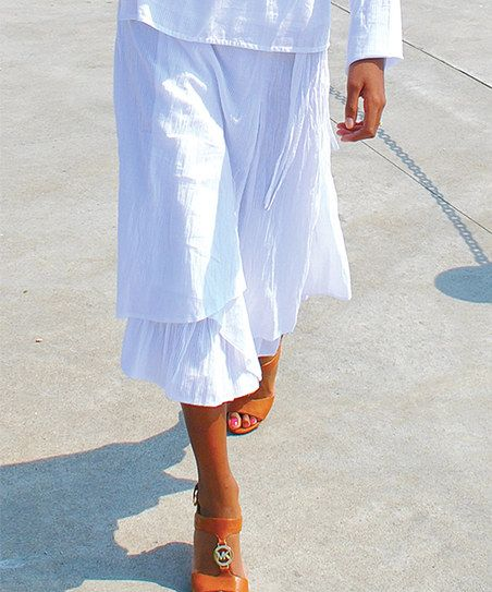 White Dobby Femininity Embraced Skirt