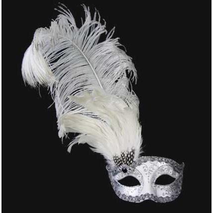 Da Donna decorata Colombina Maschera Occhi Bianca Con Piuma Costume Ballo in Maschera