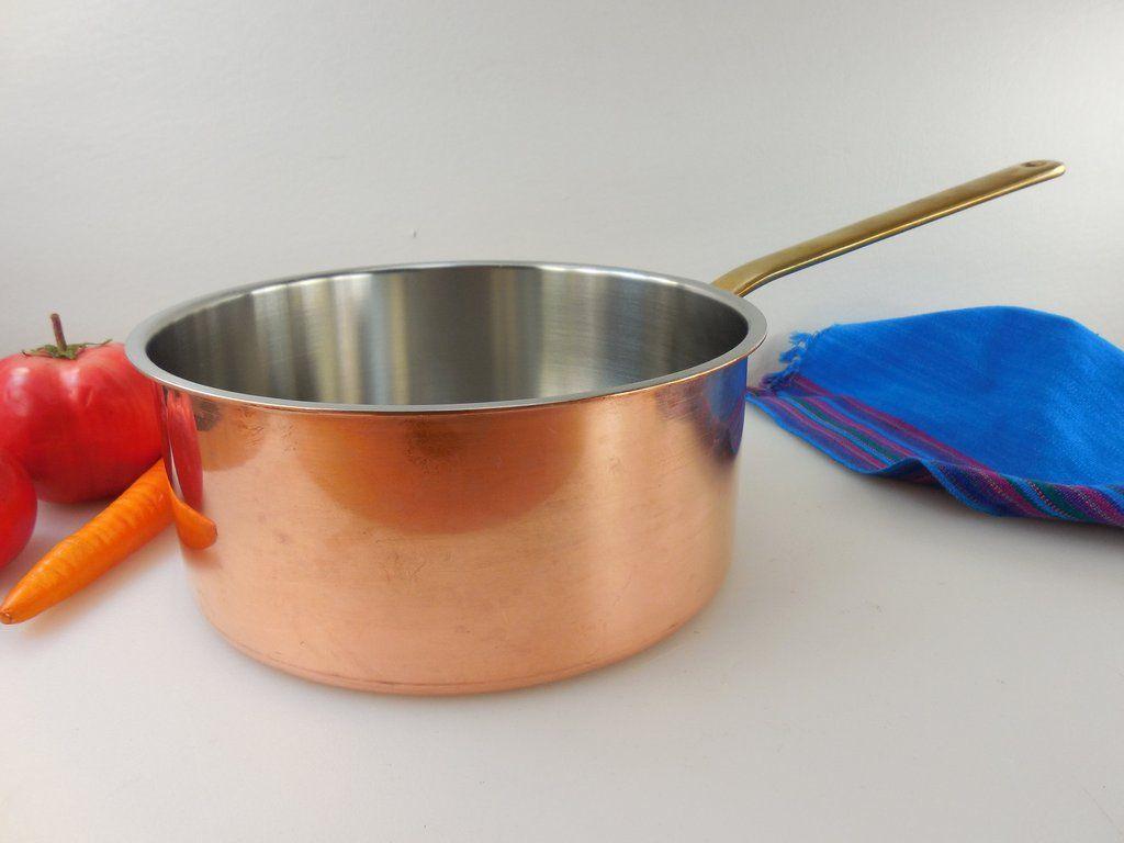 Spring Culinox Switzerland Copper Br Stainless Cookware 3 Quart Saucepan Pot No Lid Vintage 1980s