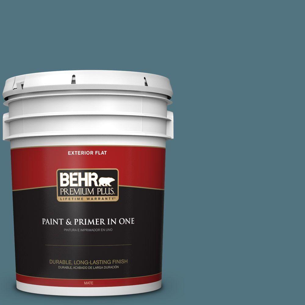 BEHR Premium Plus 5-gal. #ecc-54-2 Country Lake Flat Exterior Paint