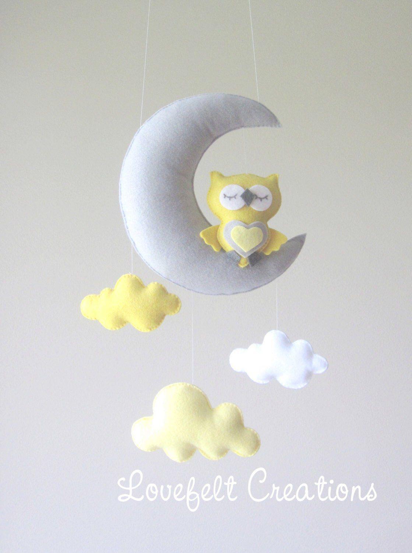 Baby mobile owl mobile cloud mobile yellow and gray