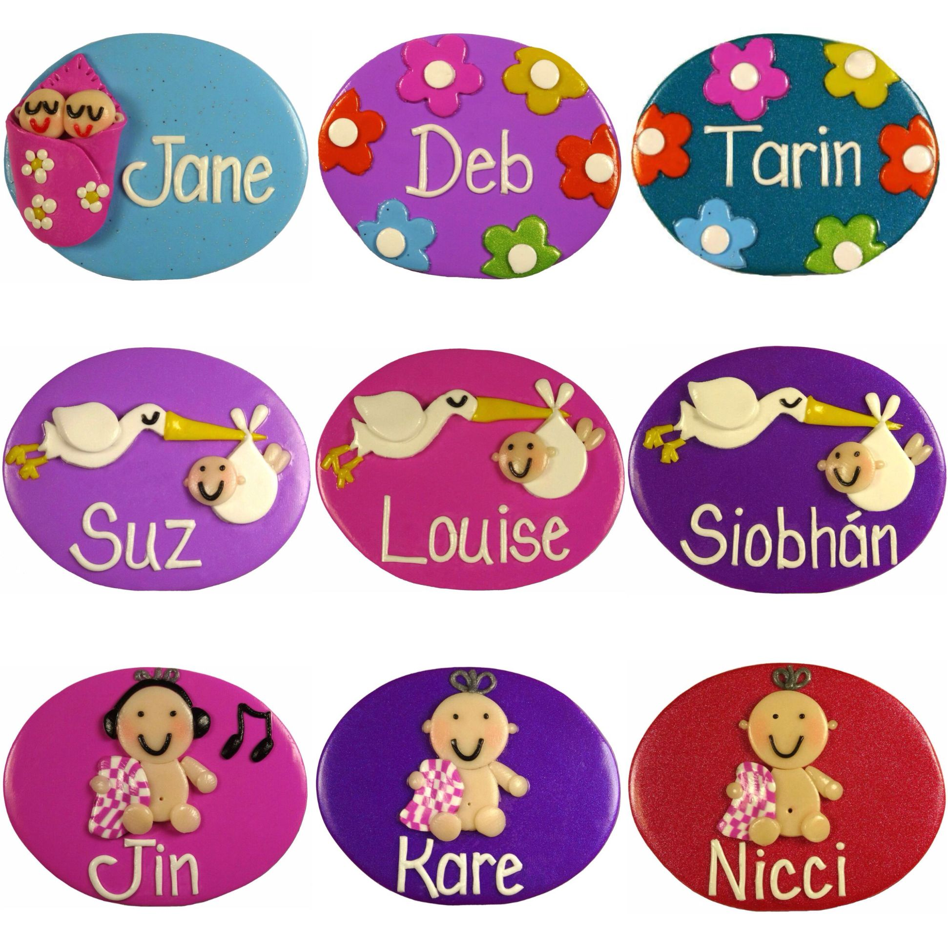 Nurse Name Badges Twins In Blanket, Flowers A, Stork