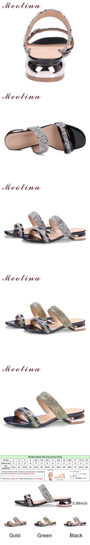 Meotina Women Sandals Summer 2017 Women Slides Glitter Low Heel Slippers  Causal Beach Shoes Ladies Sandals de617c99059f