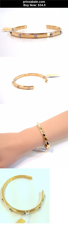 Women-Jewelry: MICHAEL Kors Astor Open Cuff Gold Tone Studs Bangle Bracelet MKJ3610710 NEW - BUY IT NOW ONLY $34.5
