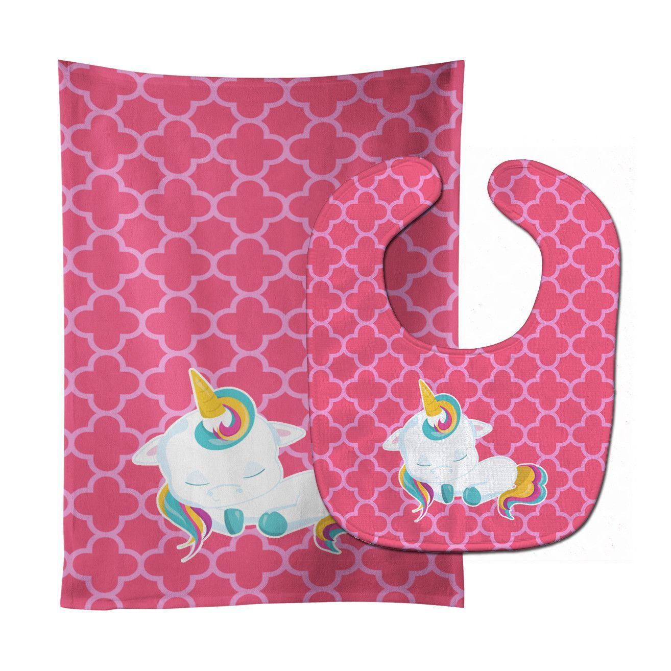 Quatrafoil Pink Unicorn Baby Bib & Burp Cloth BB6811STBU