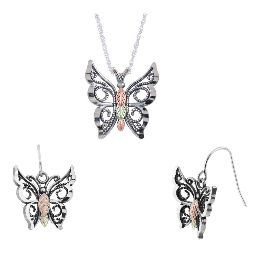 Sterling silver oxidized butterfly earrings u pendant set black
