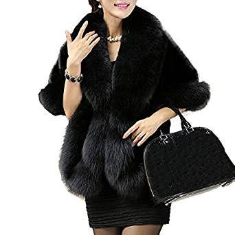 dea3756699b Caracilia Women Luxury Faux Fur Coat Jackets Wrap Cape Shawl for Wedding  Party  Caracilia  Women  Luxury  Faux  Fur  Coat  Jackets  Wrap  Cape   Wedding   ...