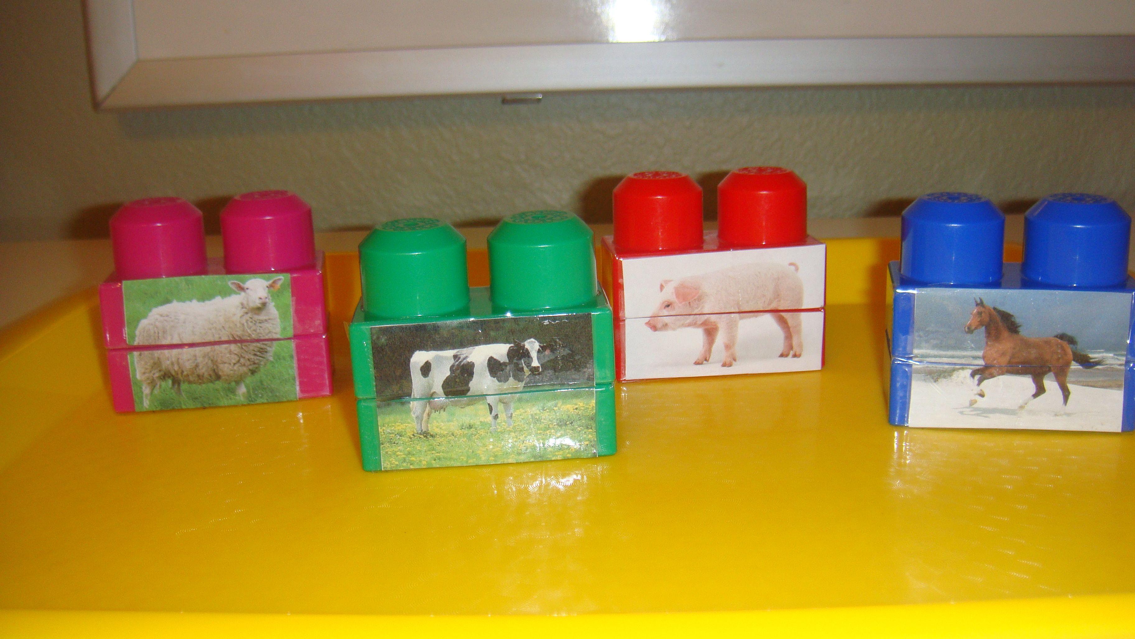 Toddler School Tray 70: Animal Matching Tops and Bottoms on Mega Blocks