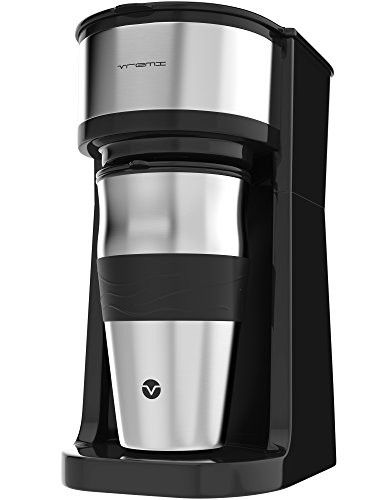 Vremi Single Cup Coffee Maker - includes 14 oz Travel Coffee Mug and Reusable Filter - Personal 1 Cup Drip Coffee Maker to Brew Ground Beans - Black and Silver Single Serve One Cup Coffee Dripper #espressomaker