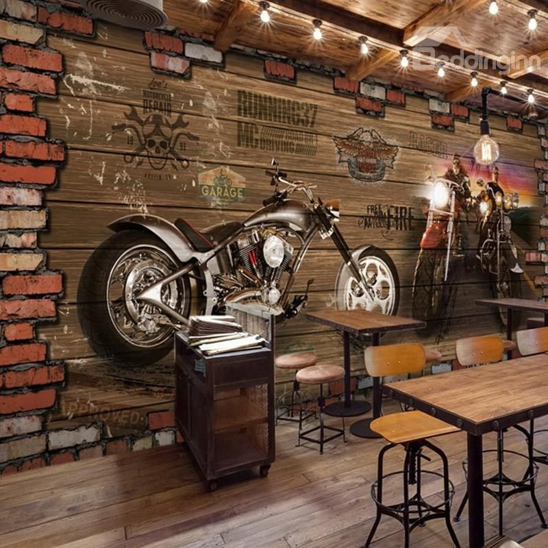 3d Motorcycle Pattern Vintage Style Pvc Waterproof Eco Friendly Brown Wall Murals Brick Wallpaper Restaurant Cafe Interior Design Living Room Murals