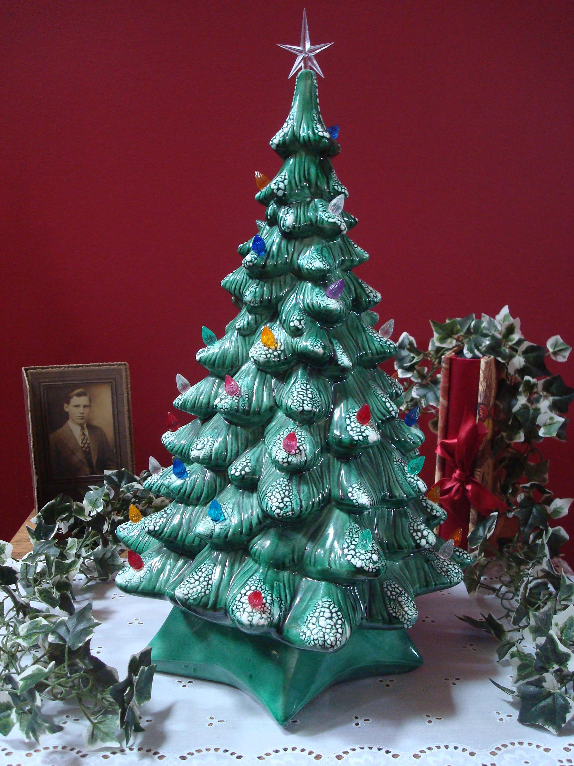 Vintage Large Size Green Ceramic Christmas Tree With Colored Lights