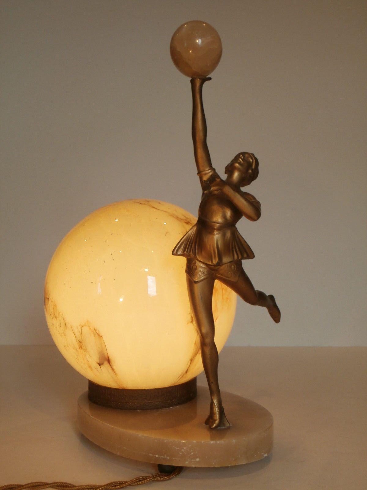 ART DECO ORIGINAL SPELTER LADY LAMP COSTUMED DANCER WITH