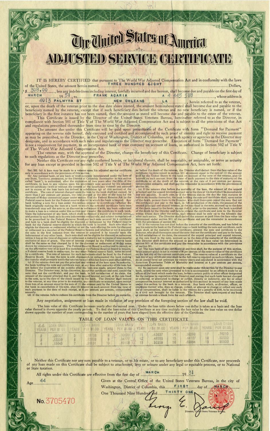 Adjusted Services Certificate The Great Depression Pinterest
