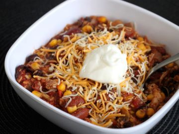 Crock pot chicken taco chili. Really good but makes a ton.  Try 1/2ing the recipe!  Also, I didn't add the stewed tomatoes and it was just fine. Maybe a little less chicken too.