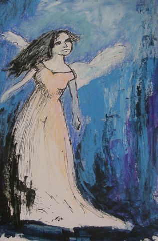"Angel art By Jane Monica Tvedt  ""The golden moments in the stream of life rush past us and we see nothing but sand; the angels come to visit us, and we only know them when they are gone."" - George Elliot"
