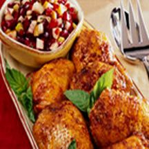 Roasted Chicken Thighs with Fall Fruit Salsa.