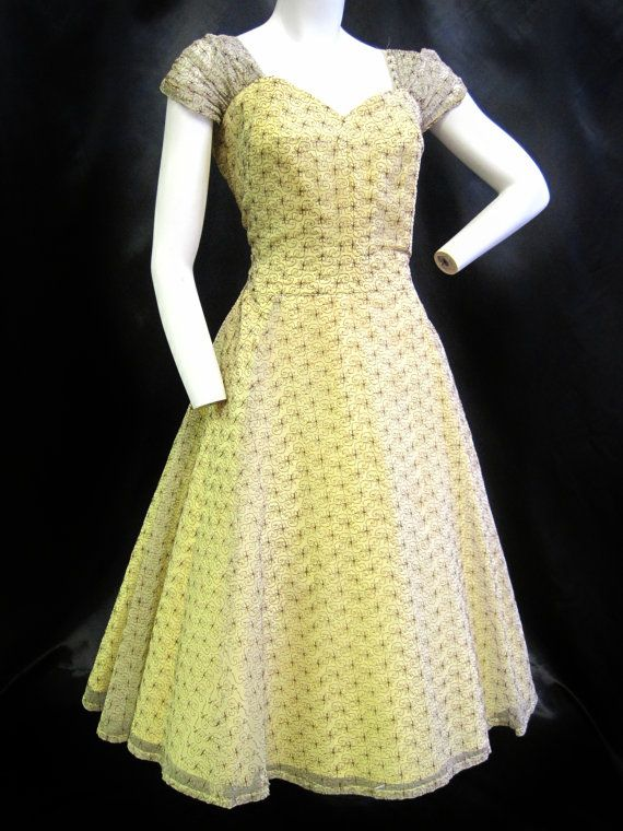 Simple perfection. 1950's Pale Yellow Dress with Brown Embroidered by ViasVintage