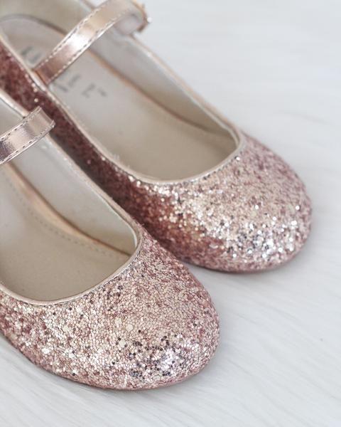 976d97840122 Rose Gold Glitter Maryjane Heels For Girls - Formal Dress Shoes – Kailee P.  Inc