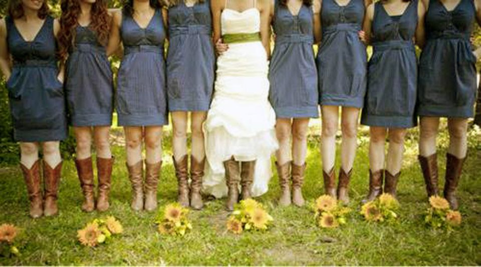 Casual Blue Bridesmaid Dresses That Goes With Cowboy Country Wedding Bridesmaids In Boots